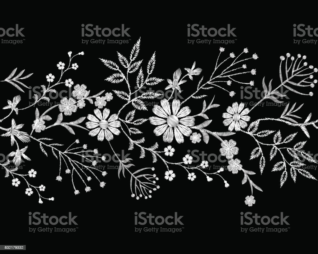 Embroidery White Lace Border Floral Border Small Branches Herb Leaf