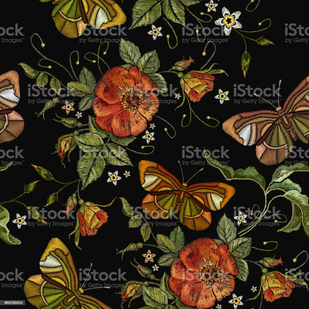 Embroidery wild red roses and butterfly seamless pattern. Classic style embroidery, beautiful red roses and summer butterfly seamless pattern vector. Fashionable template tapestry flowers renaissance vector art illustration