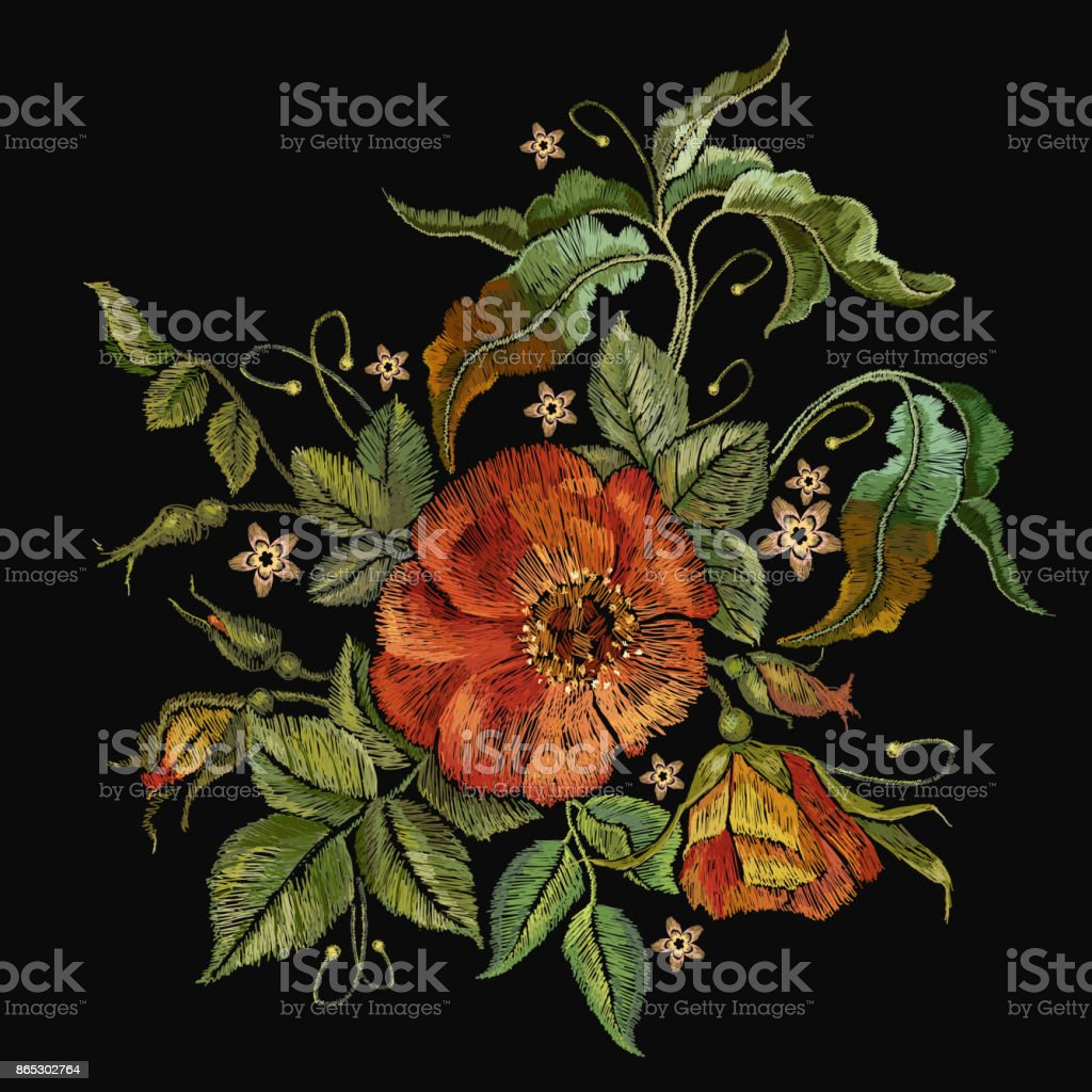 Embroidery wild roses, dogrose flowers. Fashionable template tapestry flowers renaissance. Classic style embroidery, beautiful dogrose pattern vector. Vintage buds of wild roses on black background. vector art illustration