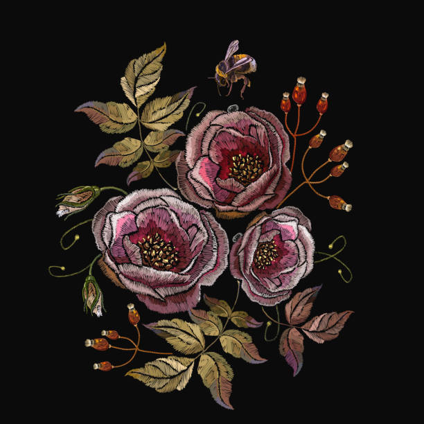 Embroidery wild roses flowers and bumblebee. Vintage buds of wild roses on black background. Fashionable template tapestry flowers vector art illustration