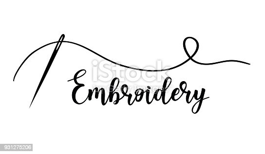 Vector hand made symbol in trendy line style isolated on white background. Embroidery with needle.   in linear style.