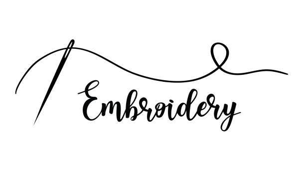 illustrazioni stock, clip art, cartoni animati e icone di tendenza di embroidery with needle. vector hand made symbol in trendy line style. - ago