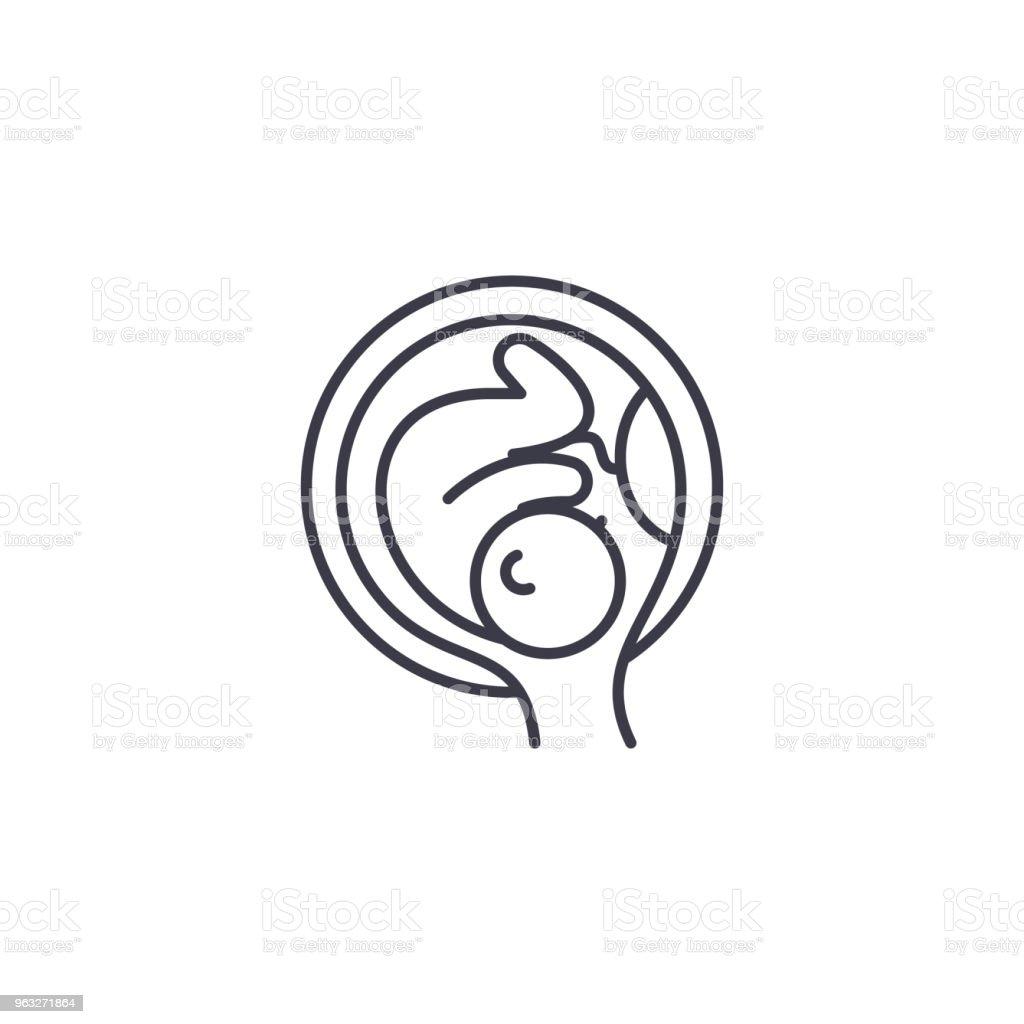 Embryo In Der Gebärmutter Lineare Symbol Konzept Embryo In Der ...
