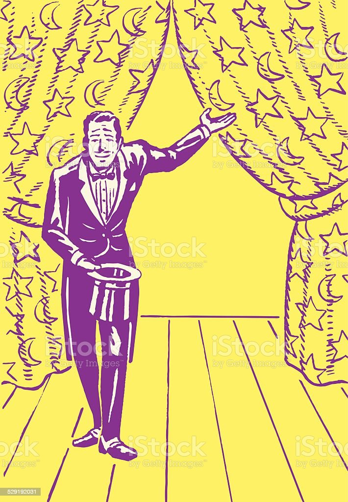 Emcee in Front of Parted Curtain vector art illustration