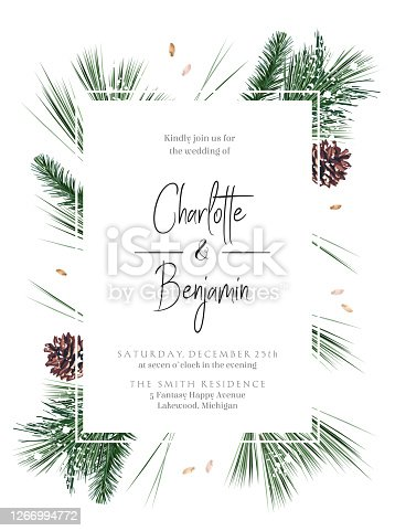 Emerald Christmas greenery, spruce, fir, pine cones seasonal vector design frame. Woodland simple style. Winter chic wedding or new year party invitation card. Watercolor style. Isolated and editable