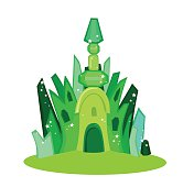 Emerald city square. Vector illustration.