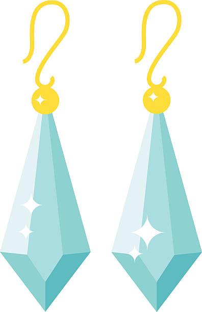 smaragd ohrringe schöne goldene accessoires isoliert - glasohrringe stock-grafiken, -clipart, -cartoons und -symbole