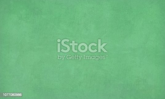 Emerald green colored blotched paint effect bright wall texture vector background- horizontal - Illustration. Blank. No people. No text. Colour Gradient. copy space. Green board, classroom object. wallpaper, no text. faded, scuffed.