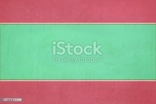istock Emerald green colored scratched effect bright wall texture vector background with maroon red border at the top and bottom - horizontal - Illustration 1077110388