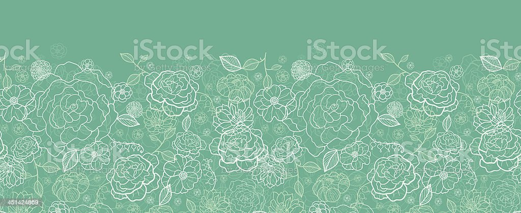 Emerald green floral lineart horizontal seamless pattern background royalty-free stock vector art