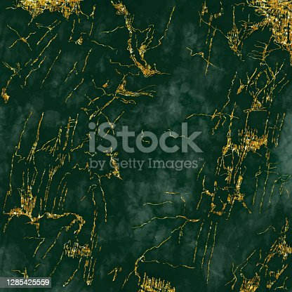 istock Emerald Green Marble Texture with Gold Veins Vector Background, useful to create surface effect for your design products such as background of greeting cards, architectural and decorative patterns. Trendy template inspiration for your design. 1285425559