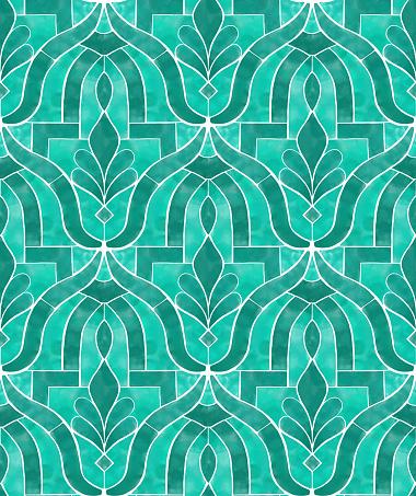 Emerald Green Morrocco Tile Seamless Pattern. Vector Tile Pattern, Lisbon Arabic Floral Mosaic, Mediterranean Seamless Emerald Green Ornament.