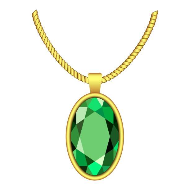 smaragd halskette symbol, realistischen stil - glasohrringe stock-grafiken, -clipart, -cartoons und -symbole