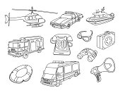 Emergency 911 Vector Doodles set. All objects are grouped easy to edit.