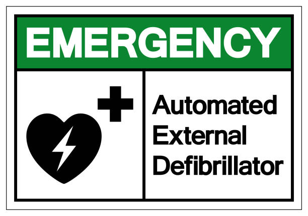 Emergency AED Automated External Defibrillator Symbol Sign, Vector Illustration, Isolate On White Background Label .EPS10 vector art illustration