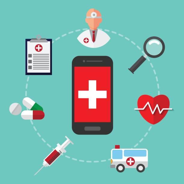 緊急時、救急車を呼ぶ。事故、医師。健康・医療のデザイン コンセプト。インフォ グラフィックのベクター イラストです。 - 救急救命士点のイラスト素材/クリップアート素材/マンガ素材/アイコン素材
