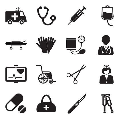 Emergency Ambulance Icons. Black Flat Design. Vector Illustration.