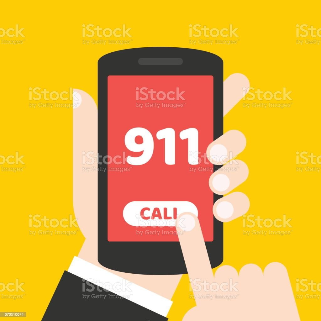 Emergency call 911 concept. Hand holding mobile phone with emergency number on the screen. vector art illustration