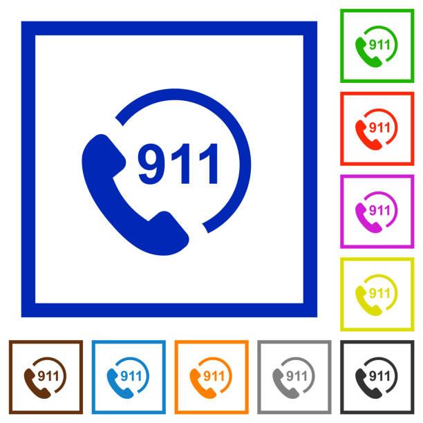 acil arama 911 düz çerçeveli simgeler - first responders stock illustrations