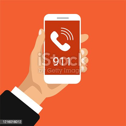 Emergency call button 911. Hand holds smartphone with calling on a screen. Vector illustration.
