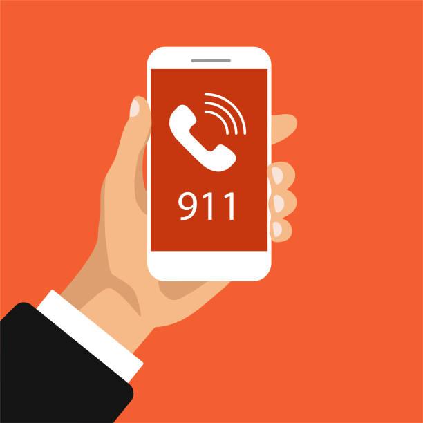 acil çağrı düğmesi 911. - first responders stock illustrations