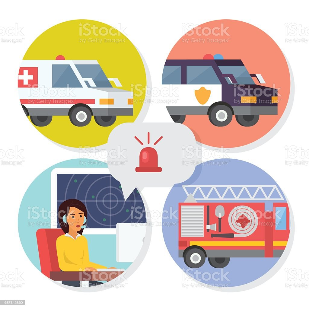 Emergency call center online support. Phone operator for ambulance, fire vector art illustration