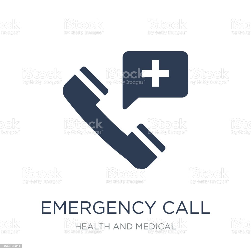 Emergency Call icon. Trendy flat vector Emergency Call icon on white background from Health and Medical collection vector art illustration