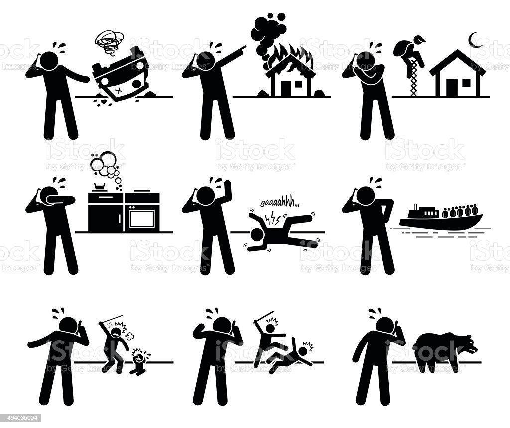 Emergency Call Pictogram vector art illustration