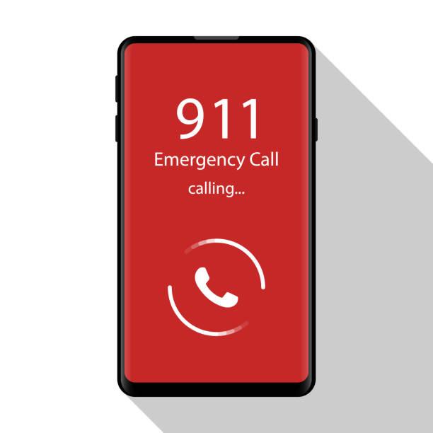 긴급 전화 911, 경찰, 구급차, 소방 서, 전화, 전화 평면 디자인, 벡터 일러스트 레이 션 - first responders stock illustrations