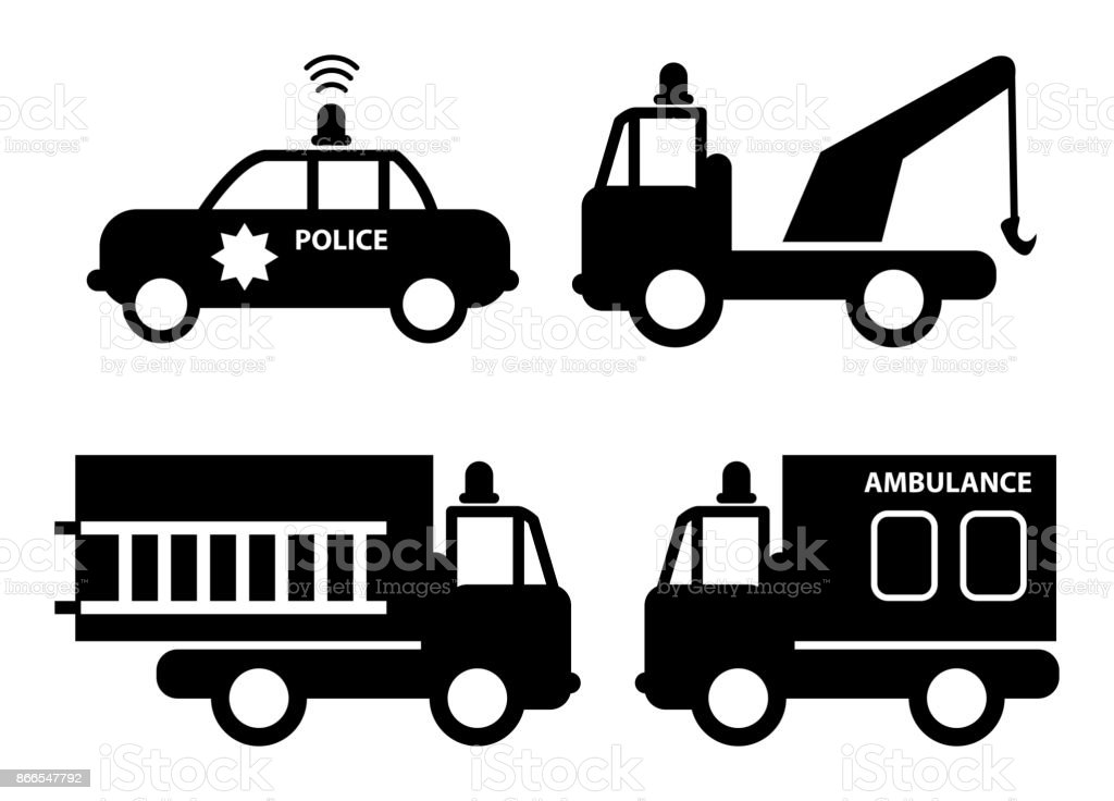 Emergency Cars Signs Or Symbols Stock Vector Art More Images Of