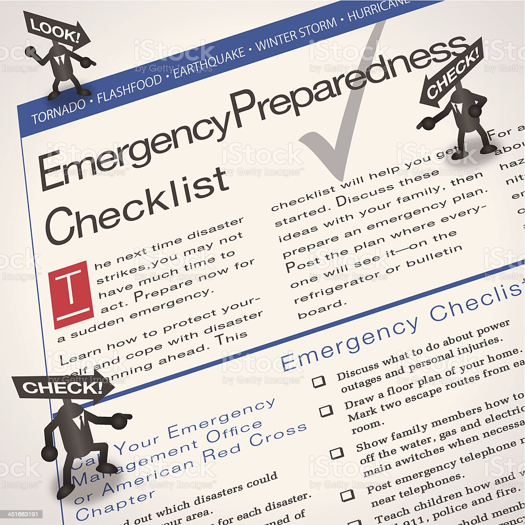 Emergency checklist royalty-free emergency checklist stock vector art & more images of a helping hand