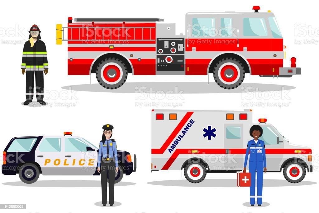 Acil Durum Kavramı Kadın Itfaiyeci Doktor Polis Yangın Kamyon
