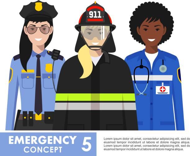 acil durum kavramı. detaylı illüstrasyon kadın itfaiyeci, doktor ve beyaz arka plan üzerinde düz stil karakoldaki polis. vektör çizim. - first responders stock illustrations