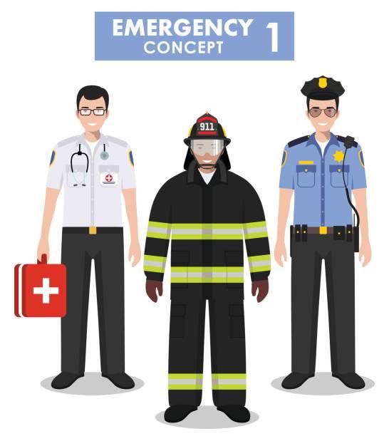 ilustraciones, imágenes clip art, dibujos animados e iconos de stock de concepto de emergencia. ilustración detallada de bombero, médico y policía en estilo plano sobre fondo blanco. ilustración de vector. - técnico en urgencias médicas