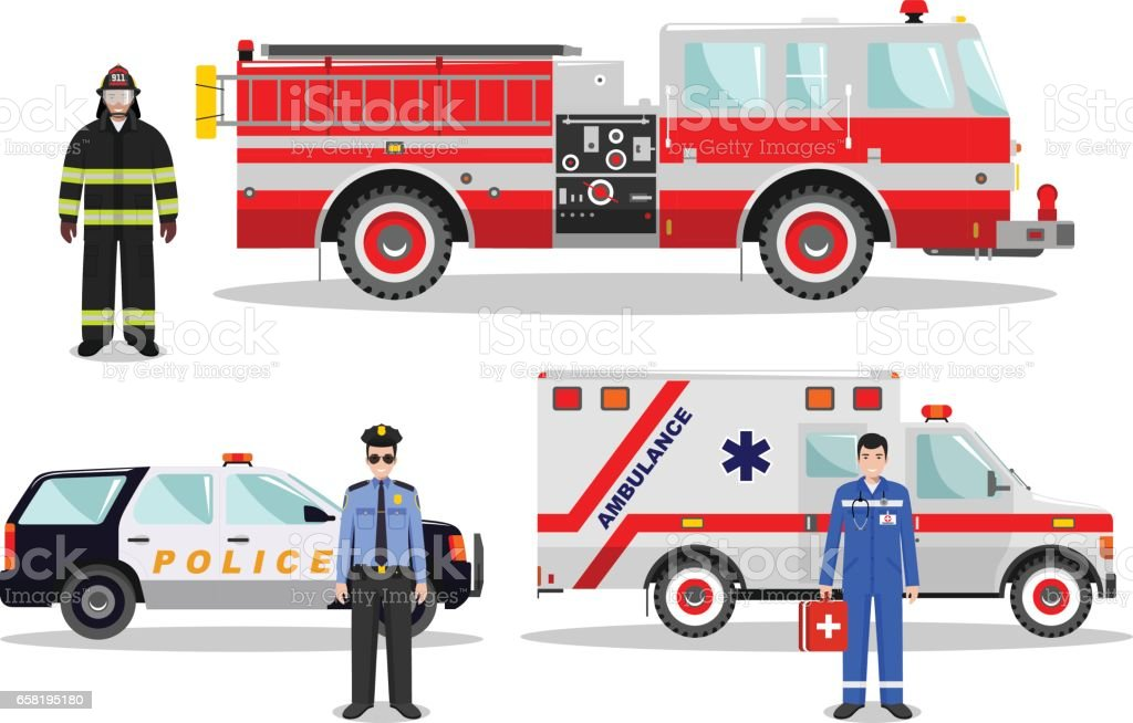 Emergency concept. Detailed illustration of firefighter, doctor, policeman with fire truck, ambulance and police car in flat style on white background. Vector illustration vector art illustration