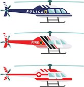 Emergency concept. Detailed illustration of medical, police and fire helicopter in flat style on white background. Vector illustration