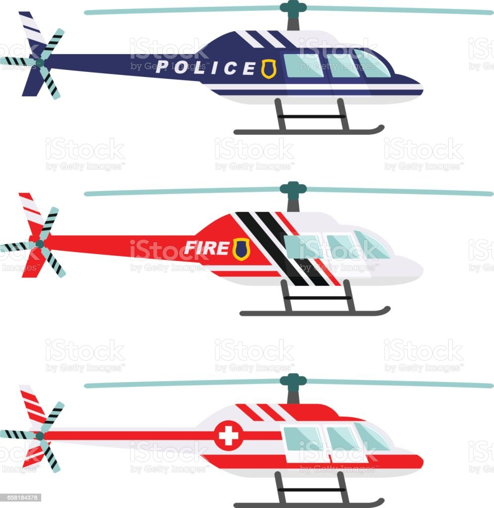 Emergency concept. Detailed illustration of medical, police and fire helicopter in flat style on white background. Vector illustration vector art illustration