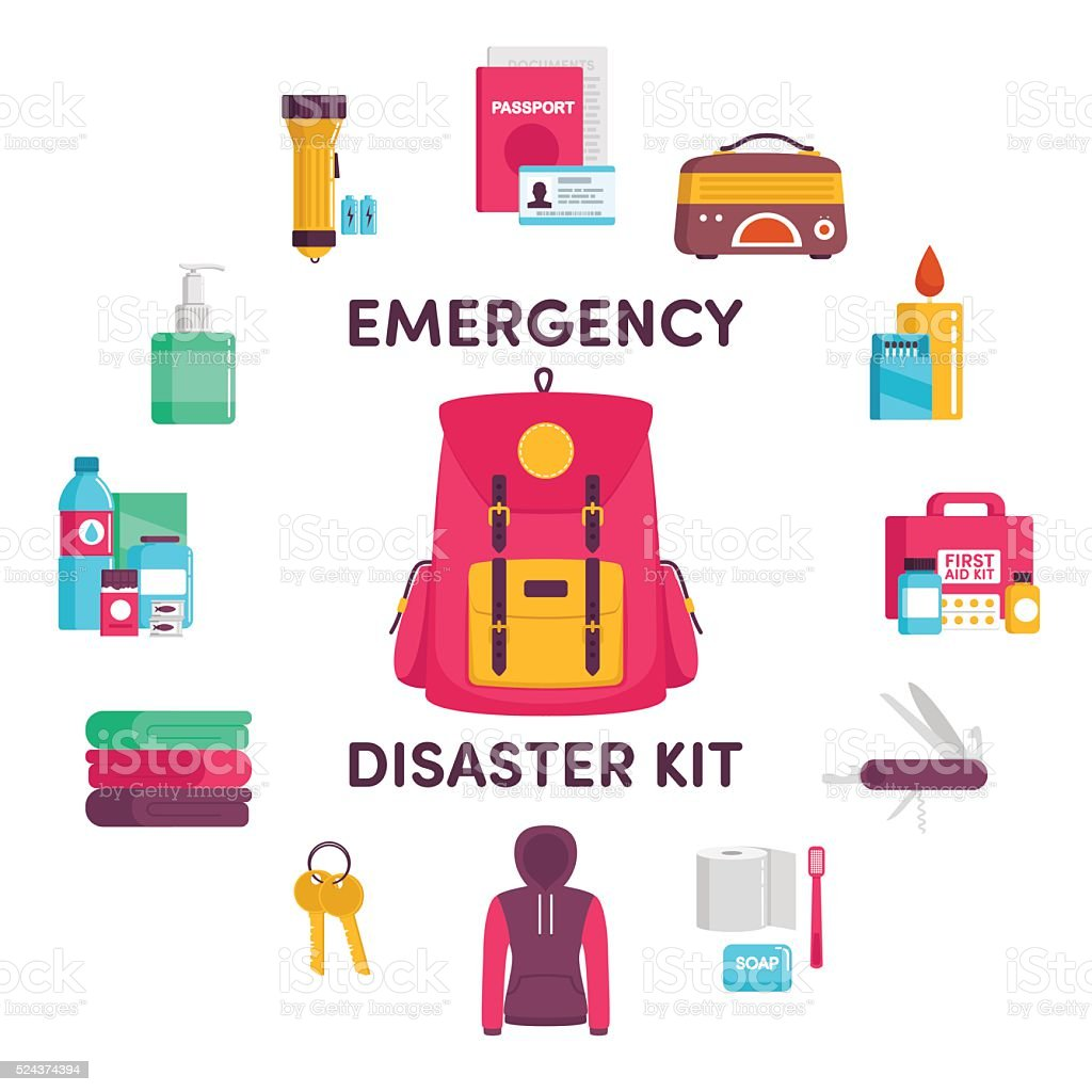 Emergency disaster kit vector art illustration
