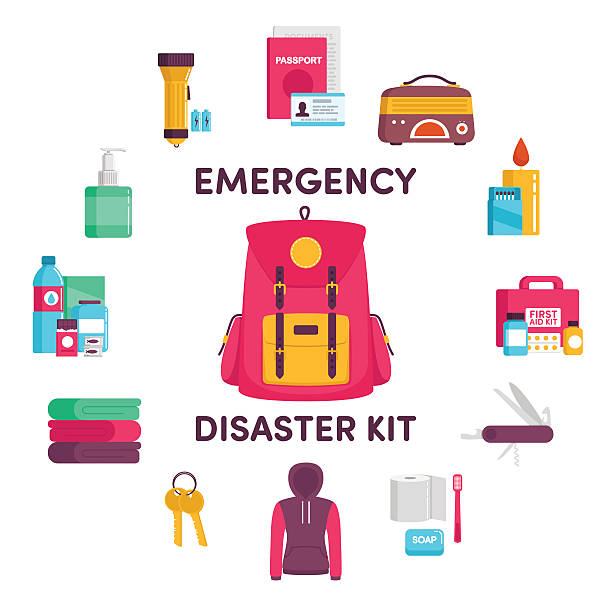 Emergency disaster kit documents, radio, candle, matches, first aid kit, knife, clothes, keys, a blanket, water, food, flashlight earthquake stock illustrations