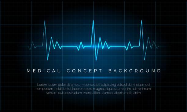 Emergency ekg monitoring Emergency ekg monitoring. Electric heartbeat oscilloscope monitor signal blue vector illustration, cardiac patient life heart rate concept heart rate stock illustrations
