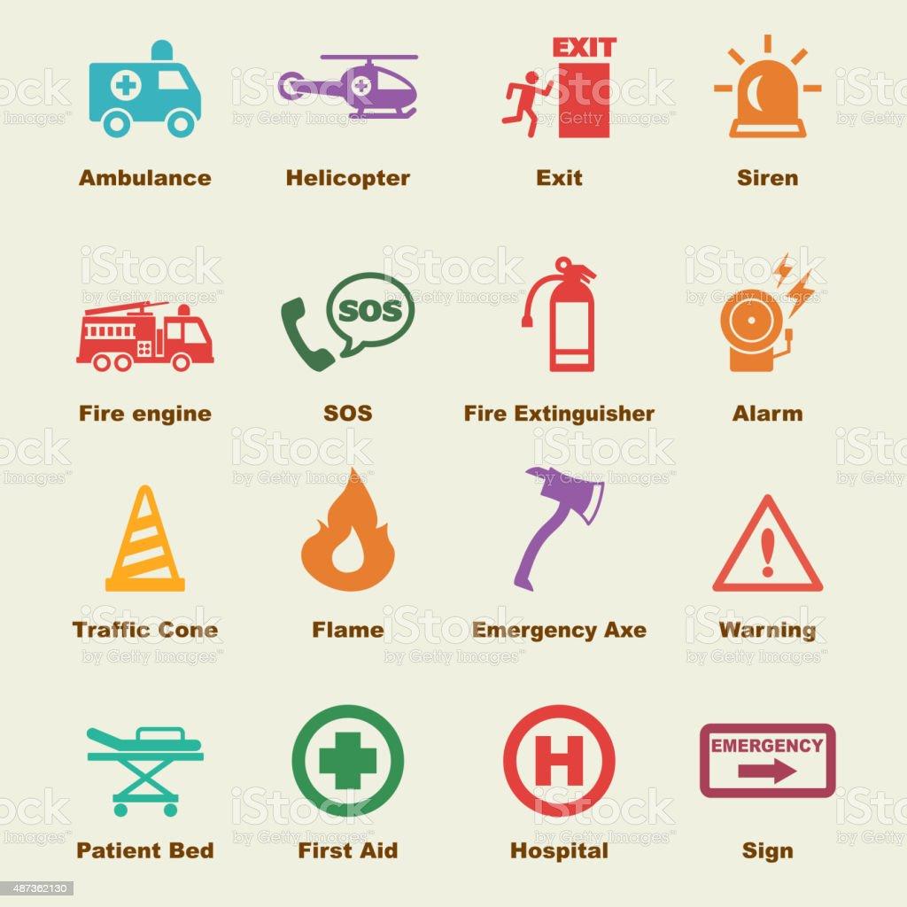 emergency elements vector art illustration