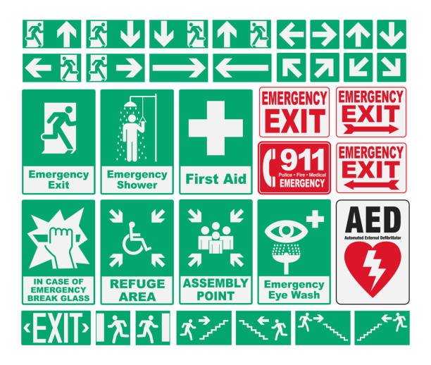 emergency evacuations sings - first aid stock illustrations, clip art, cartoons, & icons