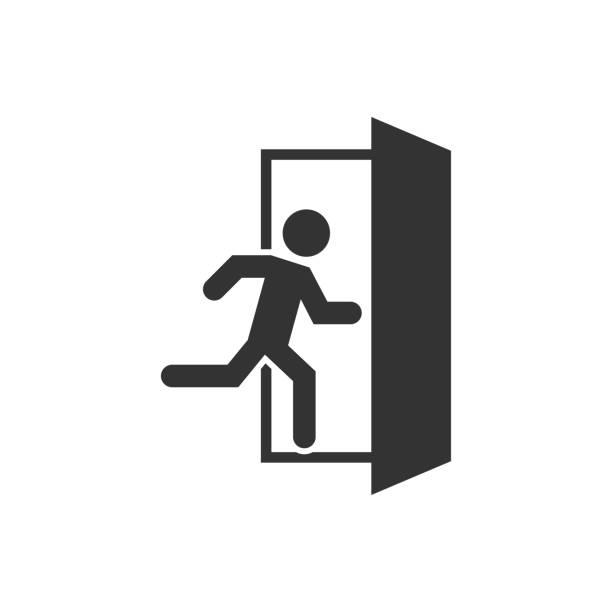 ilustrações, clipart, desenhos animados e ícones de ícone de saída de emergência, ótimo design para qualquer finalidade. símbolo de fogo. - escapismo