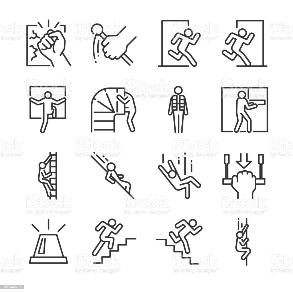 Emergency exit icon set. Included the icons as evacuation, run, escape, alarm, life jacket, chute and more.