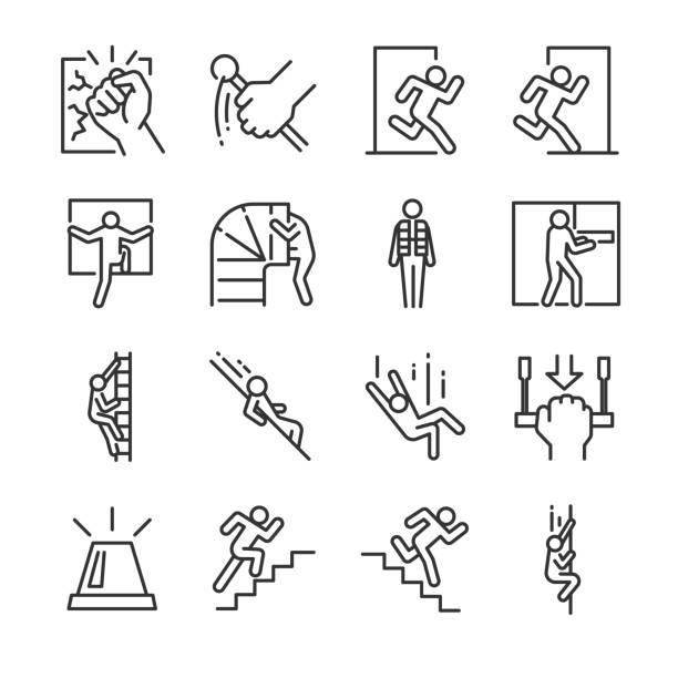ilustraciones, imágenes clip art, dibujos animados e iconos de stock de conjunto de iconos de salida de emergencia. incluye los iconos como evacuación, ejecutar, escape, alarma, chaleco salvavidas, tolva y mucho más. - despedida