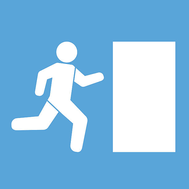 Emergency exit  icon sign vector illustration Emergency exit  icon sign vector illustration vehicle door stock illustrations