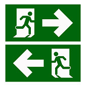 istock Emergency exit left , Emergency exit right , escape route signs , vector illustration 1185405790