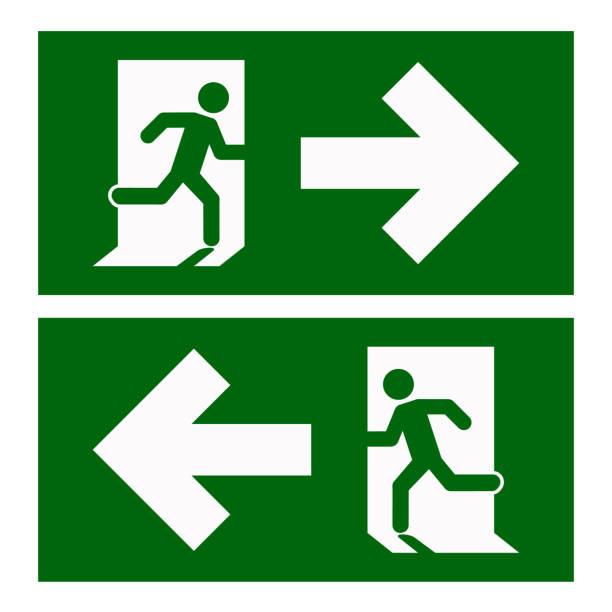 illustrations, cliparts, dessins animés et icônes de sortie de secours à gauche , sortie d'urgence à droite , panneaux d'évacuation, illustration vectorielle - entrée