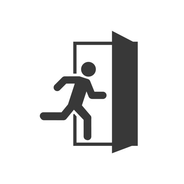 Emergency exit left , Emergency exit right , escape route signs , vector illustration Emergency exit left , Emergency exit right , escape route signs , vector illustration exodus stock illustrations