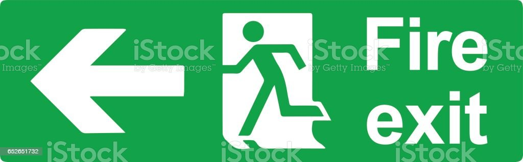 Emergency exit or fire exit sign vector design vector art illustration